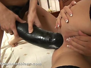 anita swallows monster anal strapon dildo