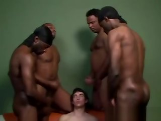 horny guy takes black cocks