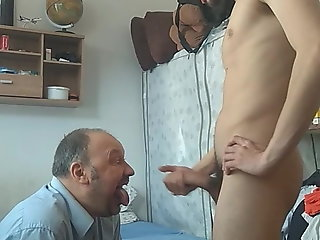 faggot daddy begs son cum swallows