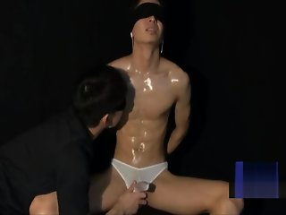 asian lean muscled guy blindfold edged