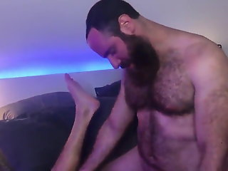 bearded hairy dad-bearded son kisses-bj-rim -bb-hj-cum