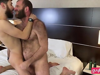 bearded hirsute dad-hairy ass son: bj-rim-bb-seeding