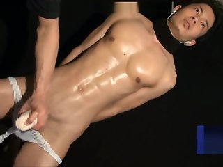lean japanese muscular guy blindfold edged